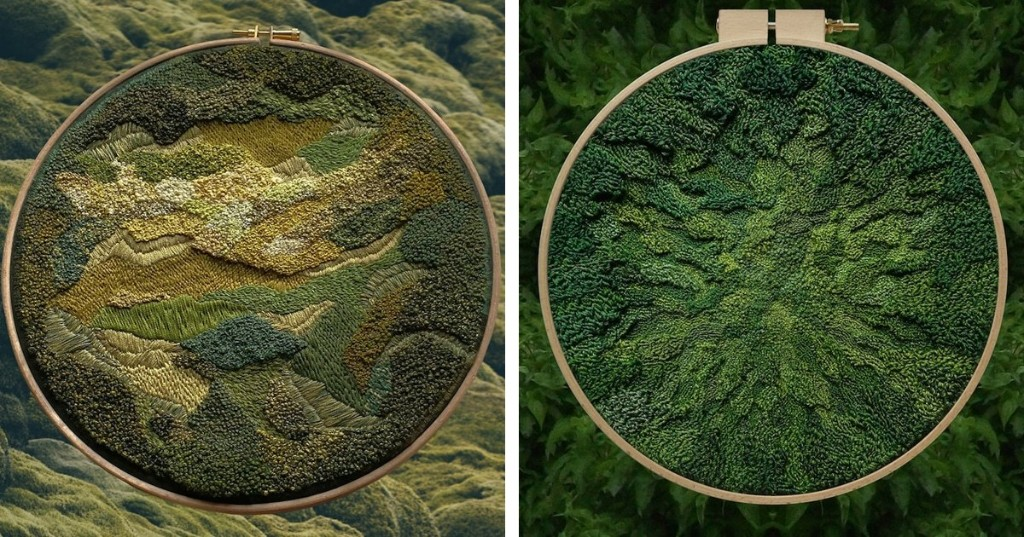 Meticulously Stitched Embroideries Look Just Like Mossy Forest Floors