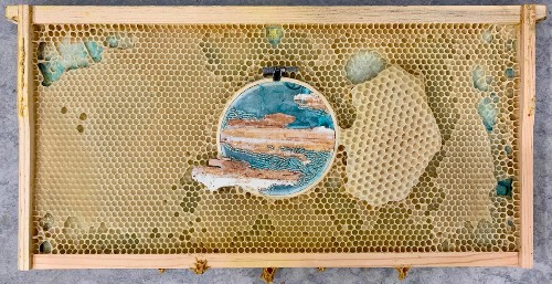 Honey Bees Become Unconventional Collaborators by Completing This Artist's Embroidery