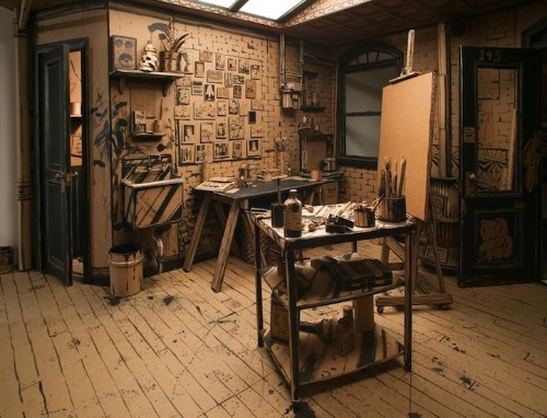 An Artist's Studio Constructed Entirely Out of Cardboard