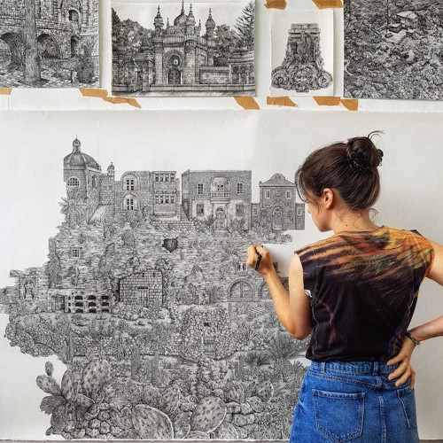 Artist Creates Detailed Pen Drawings That Merge Real and Mythical Landscapes