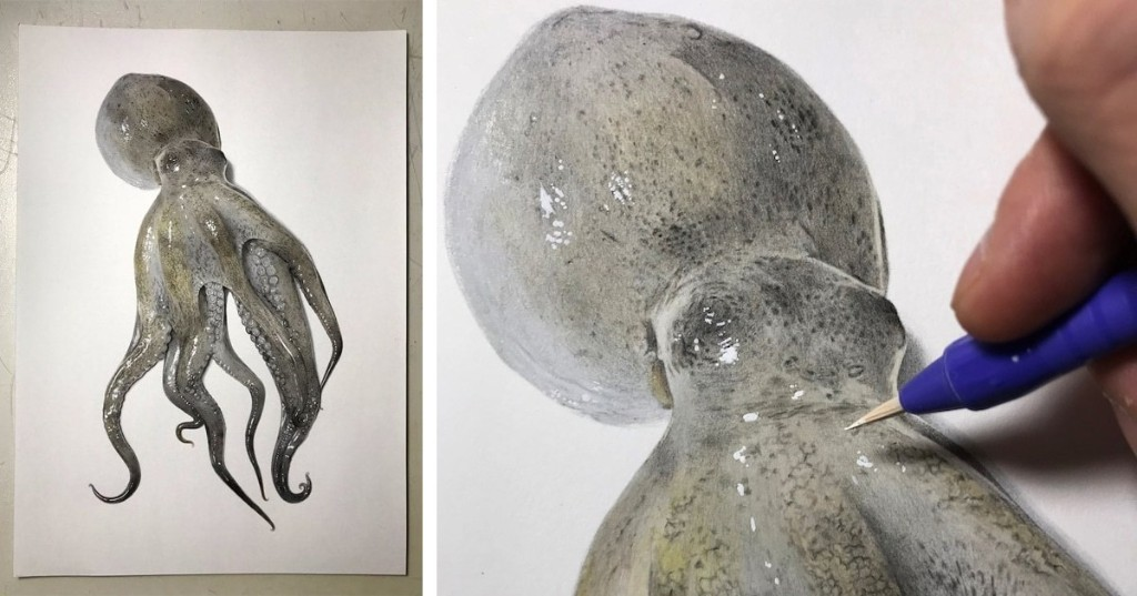 Illustrator Shares Step-By-Step Process to Create a Realistic Drawing of an Octopus