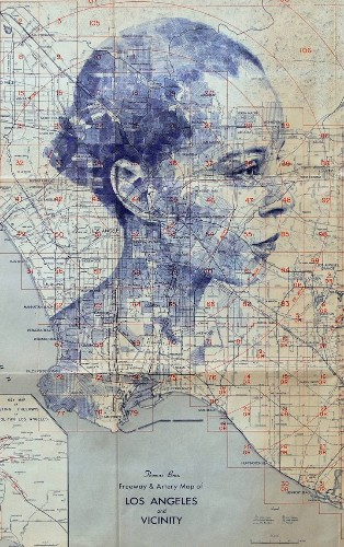 Stunning Ink and Pencil Drawings of Human Faces Emerge from Maps