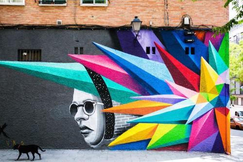 Vibrant Geometric Street Art by Okudart in Madrid