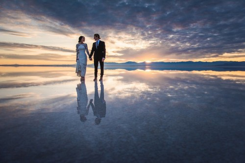 Beautifully Surreal Wedding Photos Show Couple Walking on Water