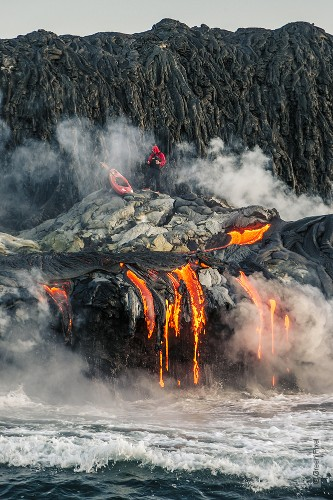 Thrill-Seeking Kayakers Paddle Across an Active Volcano