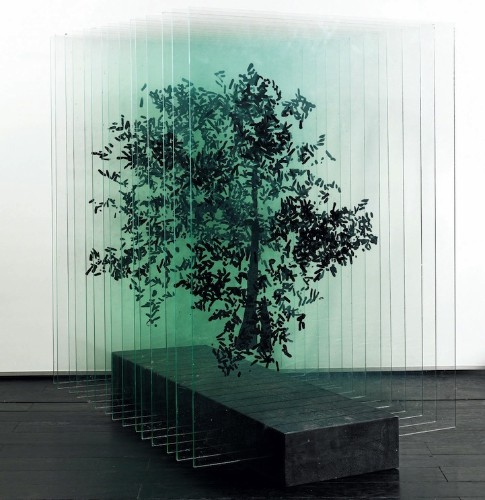 Three-Dimensional Trees Formed with Layers of Painted Glass