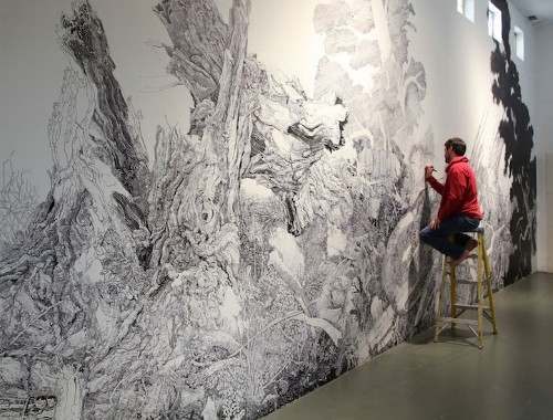 Sprawling Nature-Inspired Mural Drawn Entirely with a Sharpie