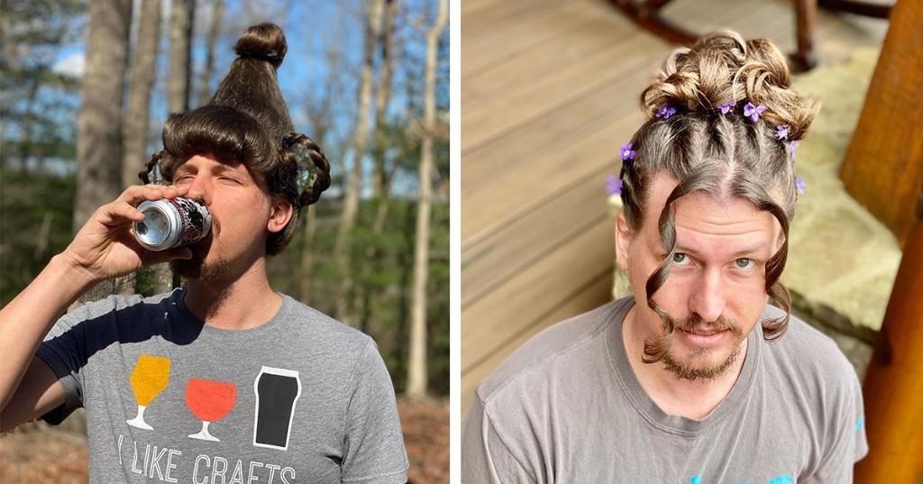 Estilista le hace extravagantes peinados a su novio para matar el tiempo durante la cuarentena