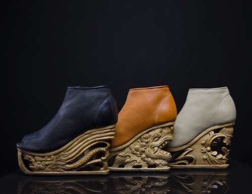 Exquisite Wooden Heels Hand-Carved with Ancient Vietnamese Pagoda Techniques