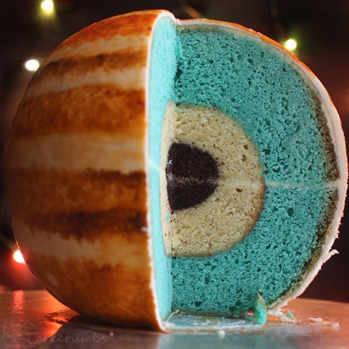 Jupiter Cake with Inner Layers and Detailed Atmosphere
