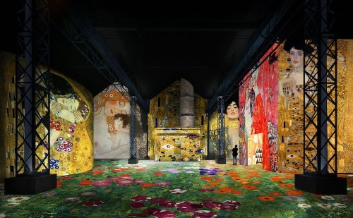 Immersive Installation Transforms Empty Foundry with Projections of Iconic Klimt Paintings