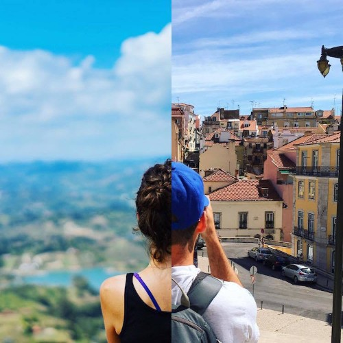 Long-Distance Couple Traveling the World Apart Collaborate on Creative Split Photos