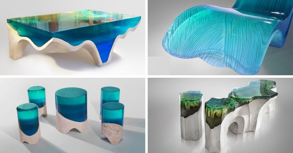 New Stone and Acrylic Glass Furniture Brings the Beauty of Nature Indoors