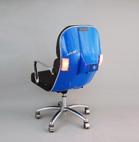 Original Parts From Vintage Vespas Turned Into Strikingly Modern Office Chairs