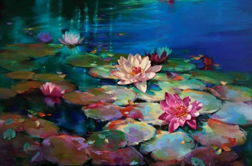 Colorful Oil Paintings Capture the Beauty of Tranquil Water Lily Ponds