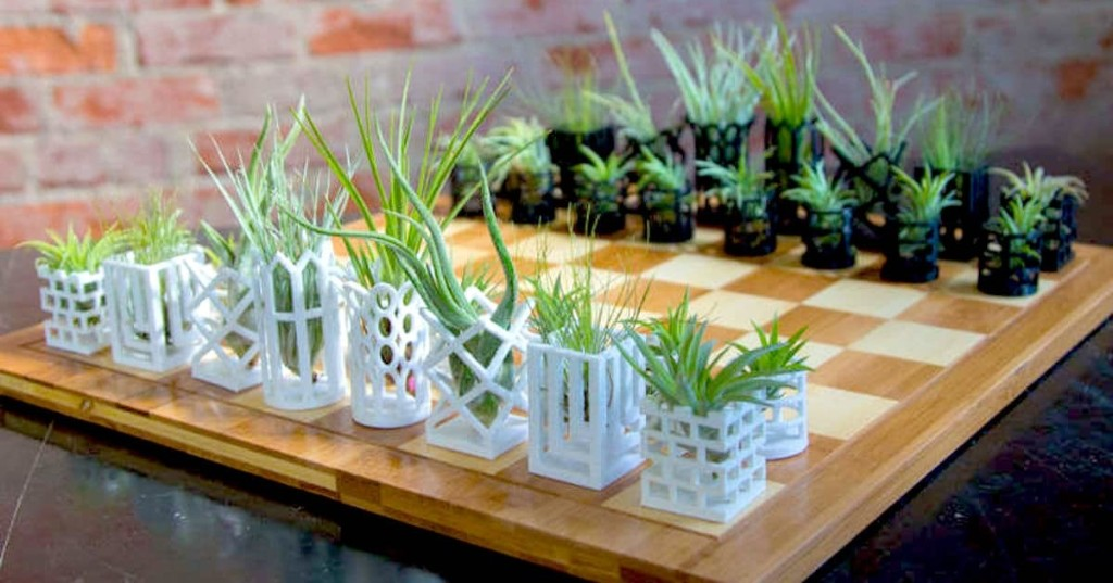 3D-Printed Chess Pieces Double as Stylish Planters for Tiny Air Plants