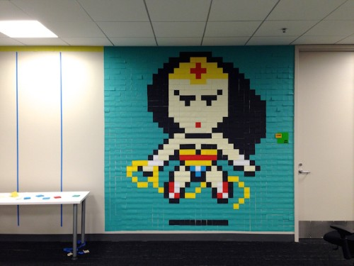 8,024 Post-It Notes Cover Drab Office Walls in Pixelated Superheroes