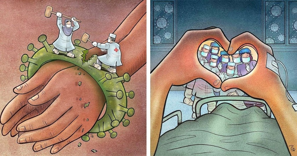 Illustrations Highlight Bravery of Healthcare Professionals Fighting the COVID-19 Pandemic
