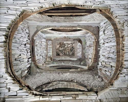 Meticulously Layered Installations Created Using Debris from Abandoned Buildings