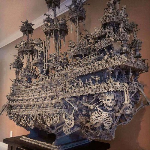 Artist Spends 15 Months Constructing Ghostly Pirate Ship With Ordinary Found Materials