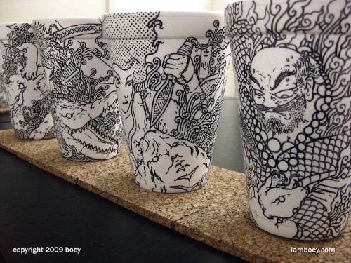 Amazingly Detailed Illustrations Drawn on Foam Coffee Cups