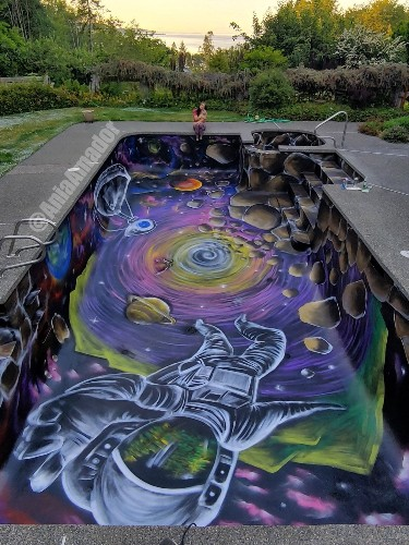 Amazing Galaxy Painting in a Swimming Pool Lets You Take a Dive That's Out of This World