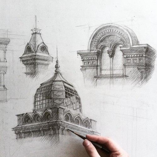 Detailed Freehand Architectural Sketches Showcase Incredible Skill
