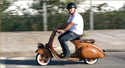 Stylin' Hand-Crafted Wooden Vespa That's Fully-Functional