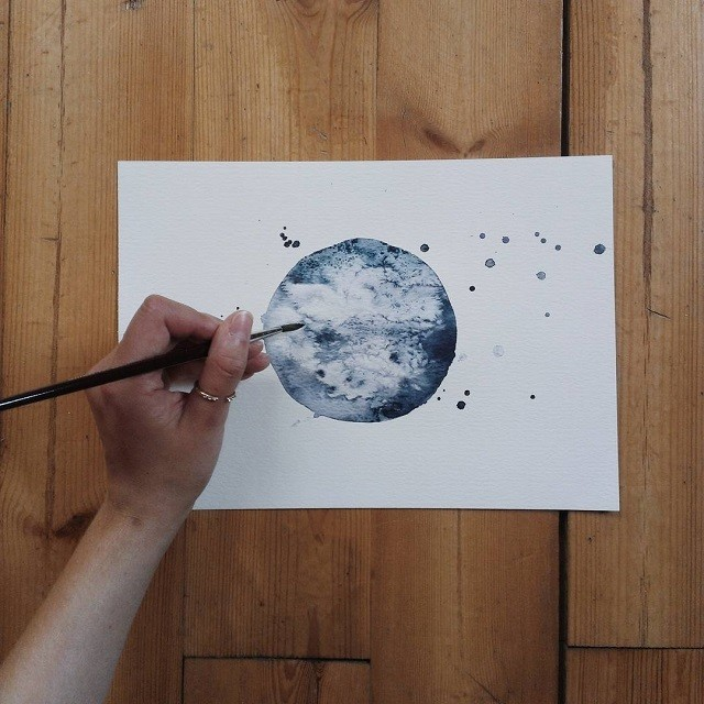 Monochromatic Watercolor Paintings Exquisitely Depict Cratered Surface of Moon