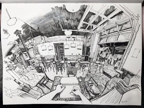 Incredible Room Drawings Sketched From the Artist's Perspective