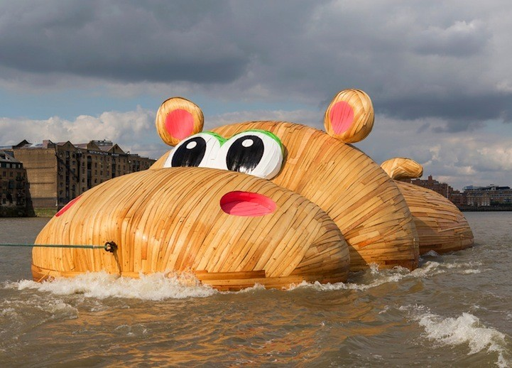 Giant Hippo Sculpture Playfully Floats Along the Thames River