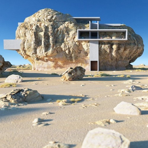 Architect Designs a Minimalist Modern House Inside a Giant Ancient Rock