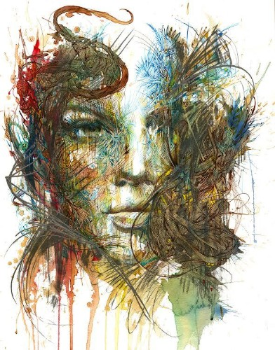 Dazzling New Portraits in Ink and Tea by Carne Griffiths