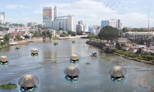Floating Jellyfish Lodges Combat Pollution and Grow Food for the Community