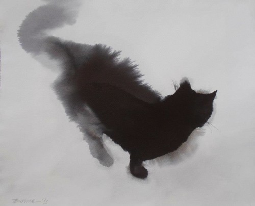 Cats Fluffed Up Through Smudged Ink and Watercolor Paintings