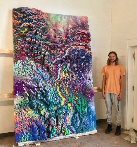 Giant Colorful Wax Paintings Inspired by Nature Look Like Vibrant Alien Terrain