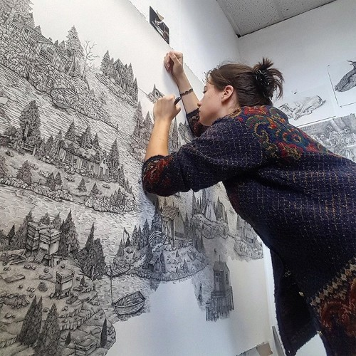 Illustrator Creates Detailed Pen and Ink Drawings of Imaginary Landscapes