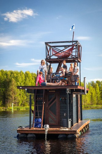 Impressive Multi-Deck Raft Features a Fully-Functional Sauna
