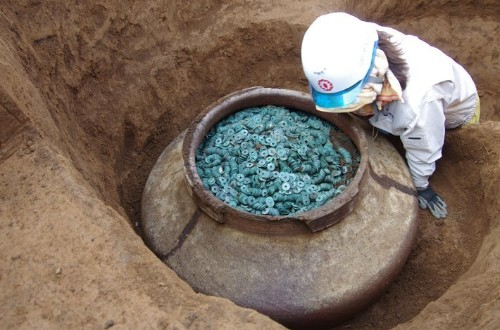 Japanese Archaeologists Dig Up Jar Filled With Over 200,000 Bronze Coins