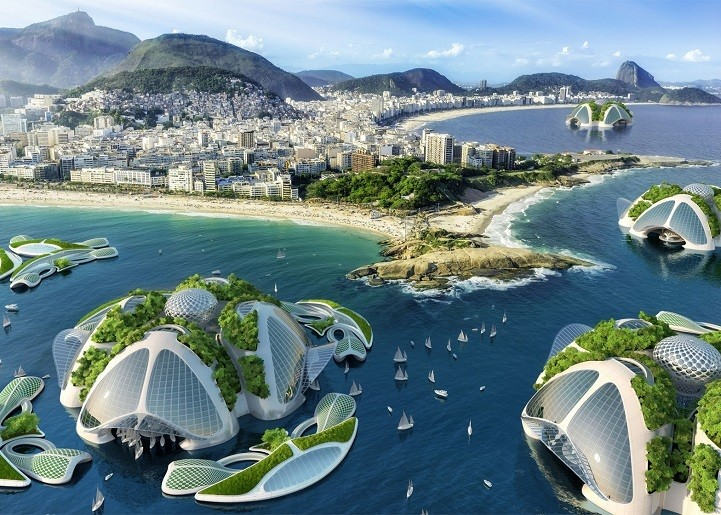 """3D Printed Underwater City Plans to Recycle Rubbish into """"Seascrapers"""""""