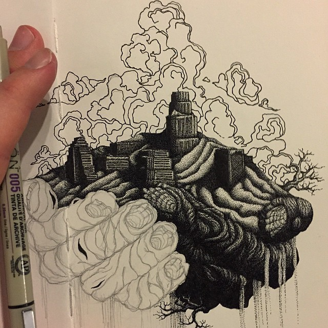 Countless Meticulously-Stippled Dots Form Fantastical Drawings