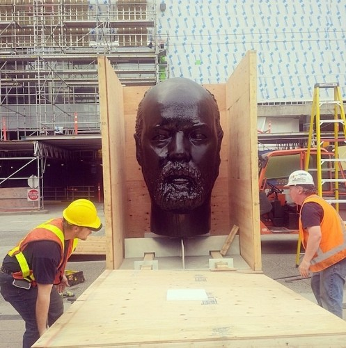 Giant Head Sculpture is Covered with Wads of Chewing Gum