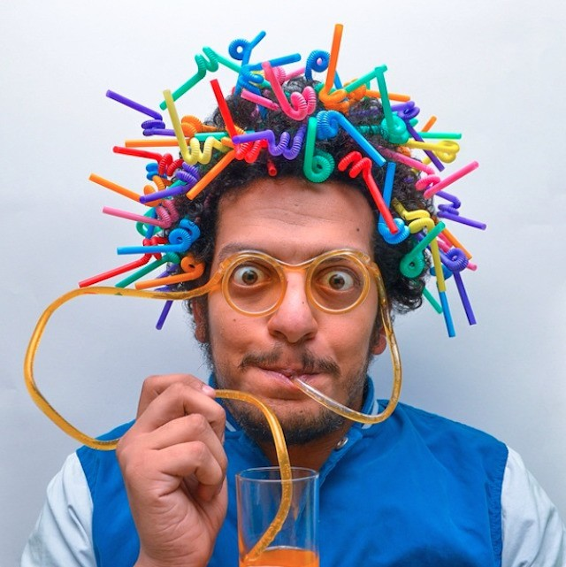 Hilarious Photos of a Man with Hair Stuffed Full of Fun Objects