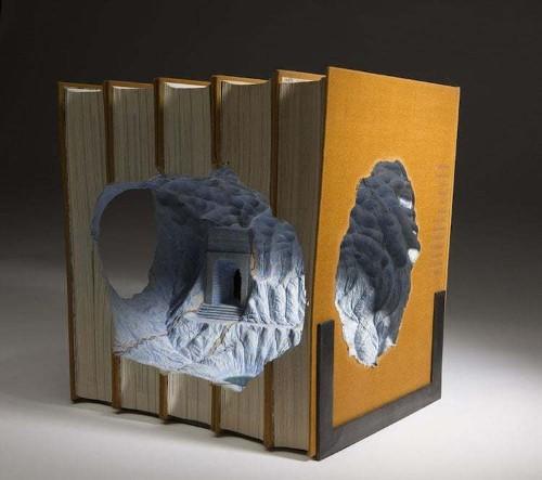 Outdated Encyclopedias Brilliantly Carved into Book Sculptures of Fantastical Lands