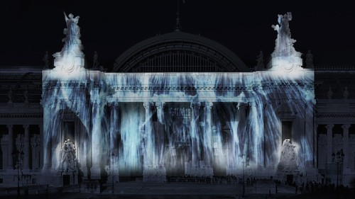 Digital Waterfall and More Remarkable Projections Transform the Grand Palais for Art Paris 2015