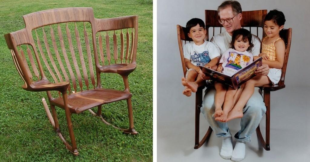 Este papá construyó una ingeniosa mecedora de tres personas para leerle a sus hijos