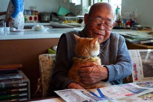Granddaughter Captures Beautiful Bond Between Her Grandpa and His Cat
