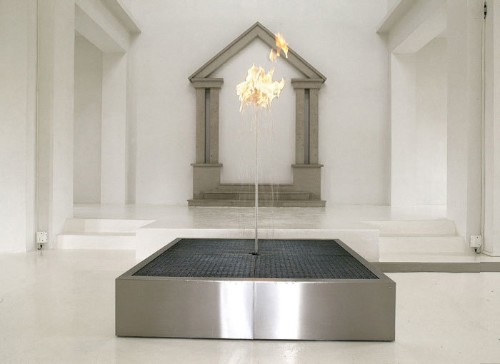 Mind-Boggling Flame Dances Atop a Water Fountain