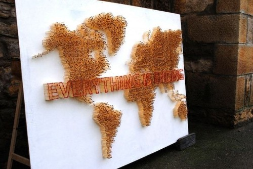 Hundreds of Matchsticks Arranged Into Flammable World Map