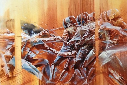 Dynamic Paintings Feature the Energy of Fencers in Motion